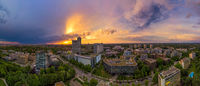 Munich from above, a panoramic droneshot in the colorful evening at sunset.