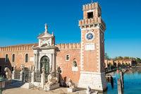 Facade of Venetian Arsenal in Venice