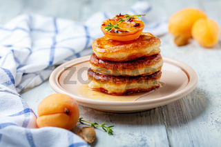 Fritters with apricot jam and thyme for breakfast.