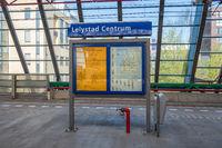 Information panel at platform railway station Lelystad, The Netherlands