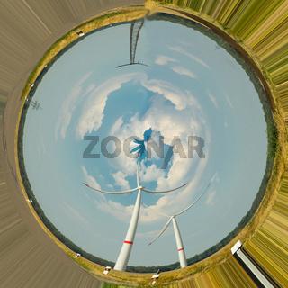 Wind turbines. Photo effect distortion filter