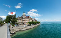the Sternenplatz Bridge in Konstanz with a view of the old town and a Japanese flag