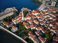 Old town with churches and fortifications in Budva in Montenegro