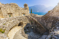 Riva del Garda, view from ruined castle Il Bastione at lake Garda, Trient, Italy