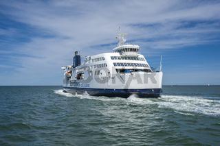 Fährschiff der Linie Scandlines in Puttgarden auf der Insel Fehmarn