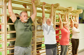 Physiotherapie Übung an der Sprossenwand