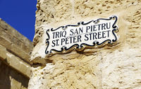 St. Peter Street sign in Mdina