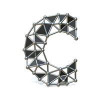 Wire low poly black metal Font Letter C 3D