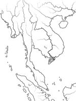 World Map of INDOCHINA: Indochinese Peninsula, Thailand, Vietnam, Laos, Malaysia, Cambodja. Geographic chart.