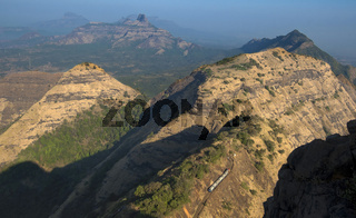 Toy train at Matheran seen from panorama point, Matheran, Maharashtra, India