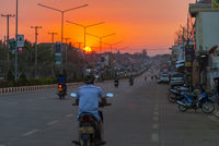 Pakse main road in sunset, Laos