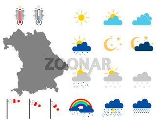 Karte von Bayern mit Wettersymbolen - Map of Bavaria with weather symbols