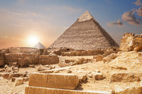 Ruins and the Pyramids, beautiful view of Giza, Egypt