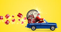 Santa Claus countdown on car