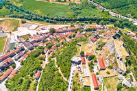 Knin town, fortress and Krka river aerial view