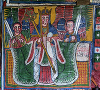 archangel Mikael, canvas painting, orthodox rock-hewn church Mikael Mellehayzengi,Ethiopia