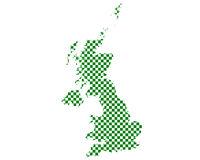 Karte von Grossbritannien in Schachbrettmuster - Map of Great Britain in checkerboard pattern
