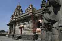 Sangameshwar temple from the period of Peshwas in basalt stone masonry at Saswad, Pune