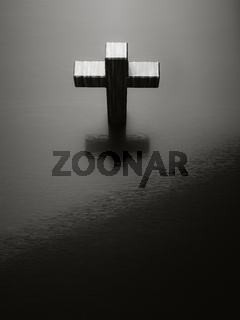 black cross symbol with space for text
