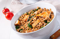 Kaszotto- polish food from buckwheat  with grilled chicken