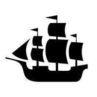 Ancient sailboat, medieval caravel, pirate ship, navigate vessel.