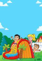 Kids on water slide theme image 4