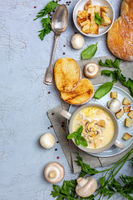 Homemade cream soup with mushrooms and chicken.