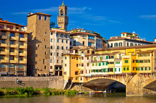 Ponte Vecchio bridge and Arno river waterfront of Florence view