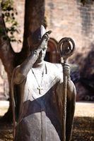 Bronze statue Bishop Burchard Cathedral St. Peter Worms