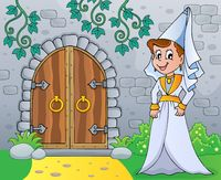Medieval lady by old door theme image 1