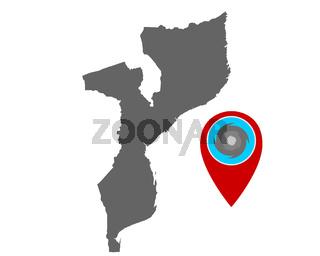 Karte von Mosambik und Pin mit Hurrikanwarnung - Map of Mozambique and pin with hurricane warning