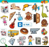 D is for educational task for children