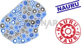 Mechanics Composition Vector Nauru Map and Grunge Stamps