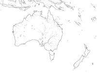 World Map of AUSTRALIA CONTINENT: Australia, New Zealand, Oceania, Pacific Ocean. Geographic chart.