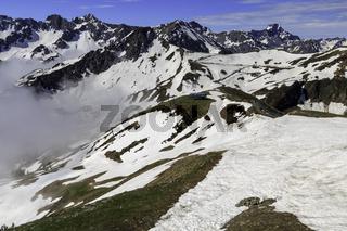 Blick vom Fellhorn zur Kanzelwand, Allgäuer Alpen, Deutschland, Österreich, Europa