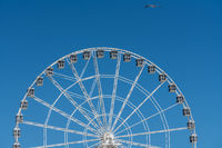 White ferris wheel on Steel Pier in Atlantic City on New Jersey coastline