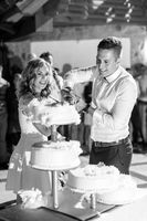Happy bride and groom cut the wedding cake.