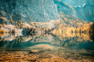 Nature panorama at lake Obersee, near Koenigssee in Berchtesgaden, Bavaria