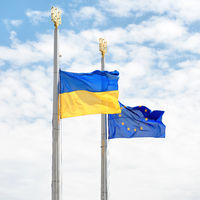 Flags of Europe and Ukraine