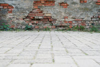 derelict wall and pavement background
