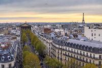 Paris France aerial view city skyline at La Madeleine (Madeleine Church)
