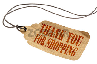 Thank you for shopping sign on price tag