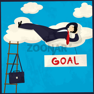 Businessman achieving goal