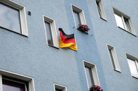 House facade with flag of Germany