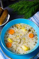 Polish sour cucumber soup or salt cucumber soup.