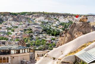 residential buildings in Goreme town in Cappadocia