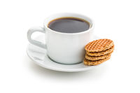 Sweet waffle biscuits and coffee cup.