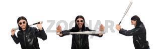Aggressive man with baseball bat on white