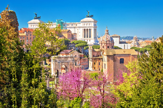Scenic springtime view over the ruins of the Roman Forum in Rome