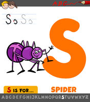 letter S worksheet with cartoon spider